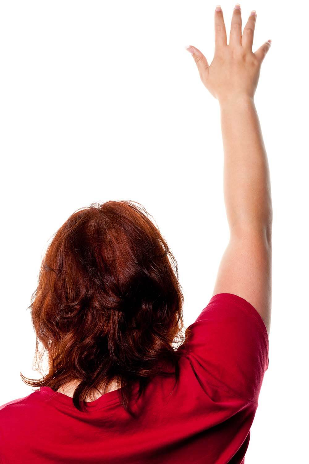 Woman raising her arm